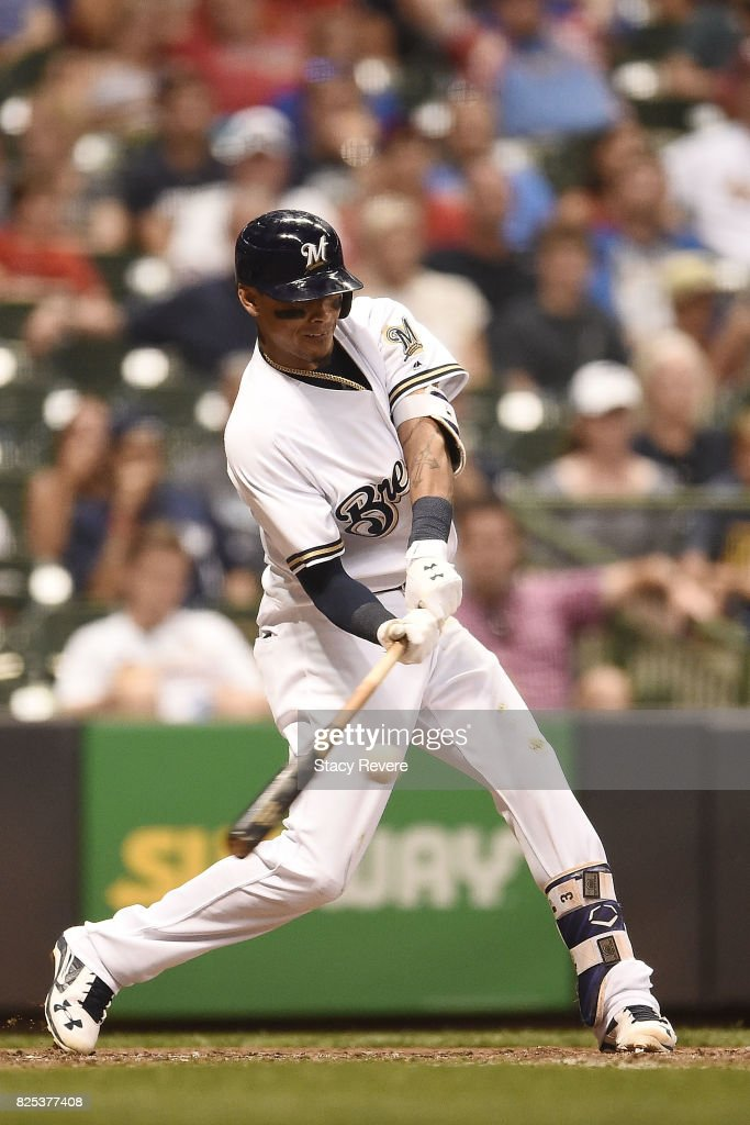 Orlando Arcia #3 of the Milwaukee Brewers swings at a pitch during the eighth inning of a game against the St. Louis Cardinals at Miller Park on August 1, 2017 in Milwaukee, Wisconsin.