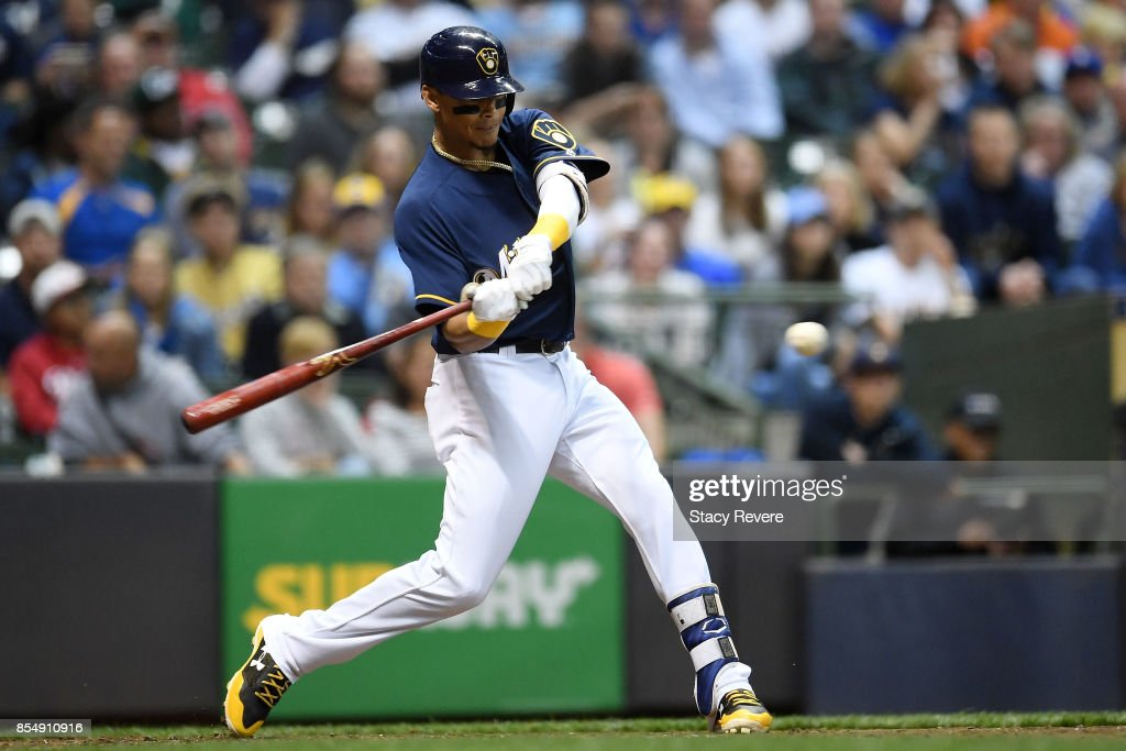 Orlando Arcia #3 of the Milwaukee Brewers swings at a pitch during the fourth inning of a game against the Cincinnati Reds at Miller Park on September 27, 2017 in Milwaukee, Wisconsin.