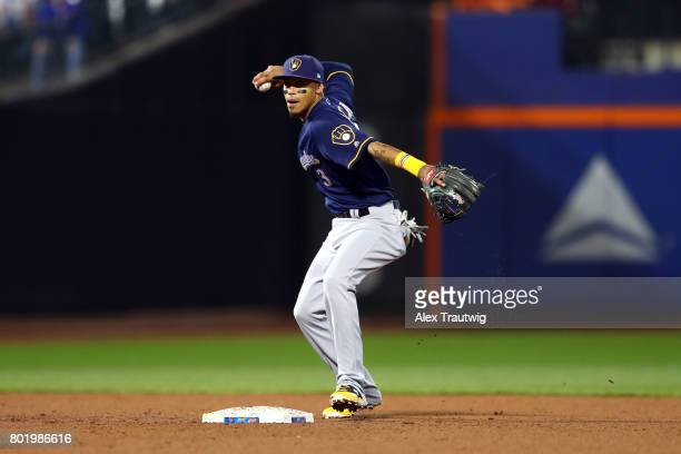Orlando Arcia of the Milwaukee Brewers throws to first base during the game against the New York Mets at Citi Field on Tuesday May 30 2017 in the...