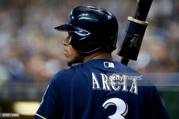 Orlando Arcia of the Milwaukee Brewers waits to bat in the on deck circle in the fourth inning against the St Louis Cardinals at Miller Park on...
