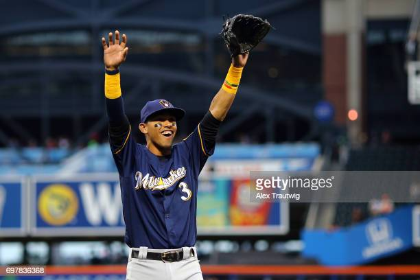 Orlando Arcia of the Milwaukee Brewers waves to fans before the game against the New York Mets at Citi Field on Tuesday May 30 2017 in the Queens...