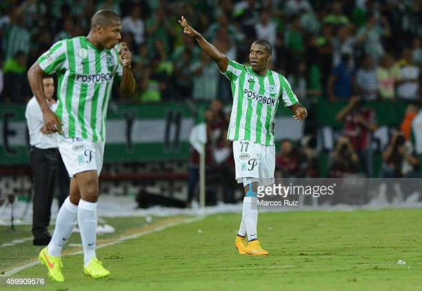 Orlando Berrio of Atletico Nacional celebrates after scoring the first goal of his team during a first leg final match between Atletico Nacional and...