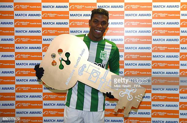 Orlando Berrio of Atletico Nacional is presented with the man of the match award during the FIFA Club World Cup 3rd Place match between Club America...