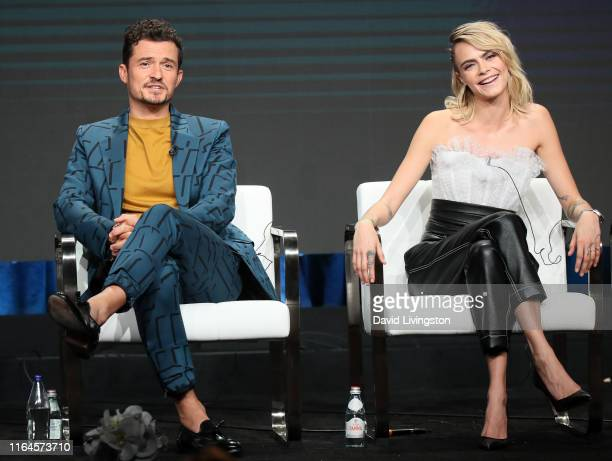 Orlando Bloom and Cara Delevingne of 'Carnival Row' speak onstage during the Amazon Prime Video segment of the Summer 2019 Television Critics...