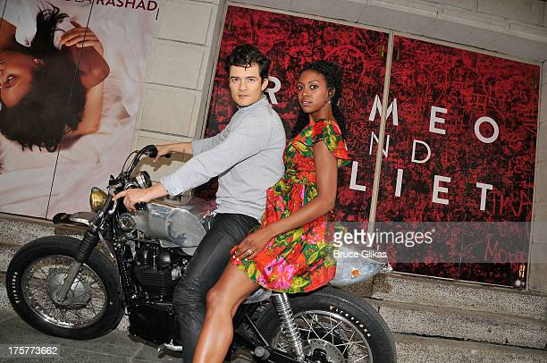 Orlando Bloom and Condola Rashad attend the 'Romeo And Juliet' Broadway Photo Call at Richard Rodgers Theatre on August 7 2013 in New York City