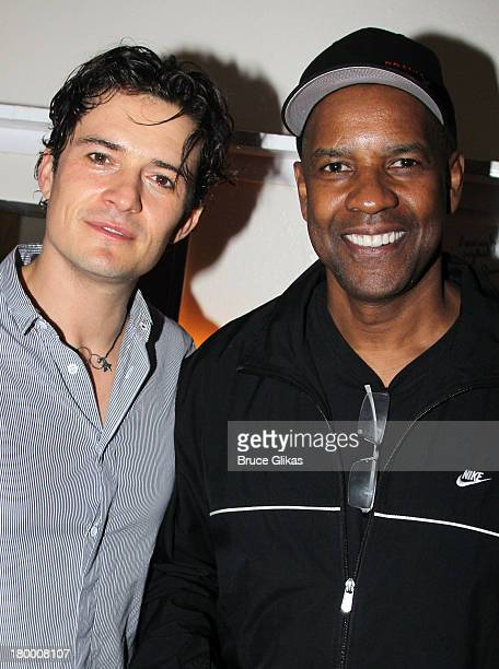 Orlando Bloom and Denzel Washington pose backstage at 'Romeo and Juliet' on Broadway at The Richard Rogers Theater on September 7 2013 in New York...