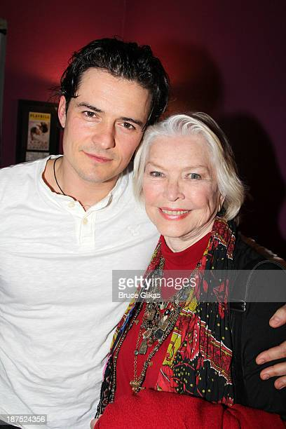 Orlando Bloom and Ellen Burstyn pose backstage at 'Romeo and Juliet' on Broadway at The Richard Rogers Theater on November 9 2013 in New York City