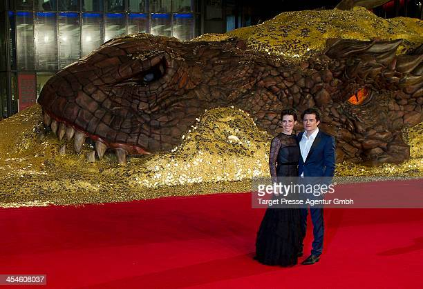 Orlando Bloom and Evangeline Lilly attend the German premiere of the film 'The Hobbit The Desolation Of Smaug' at Sony Centre on December 9 2013 in...