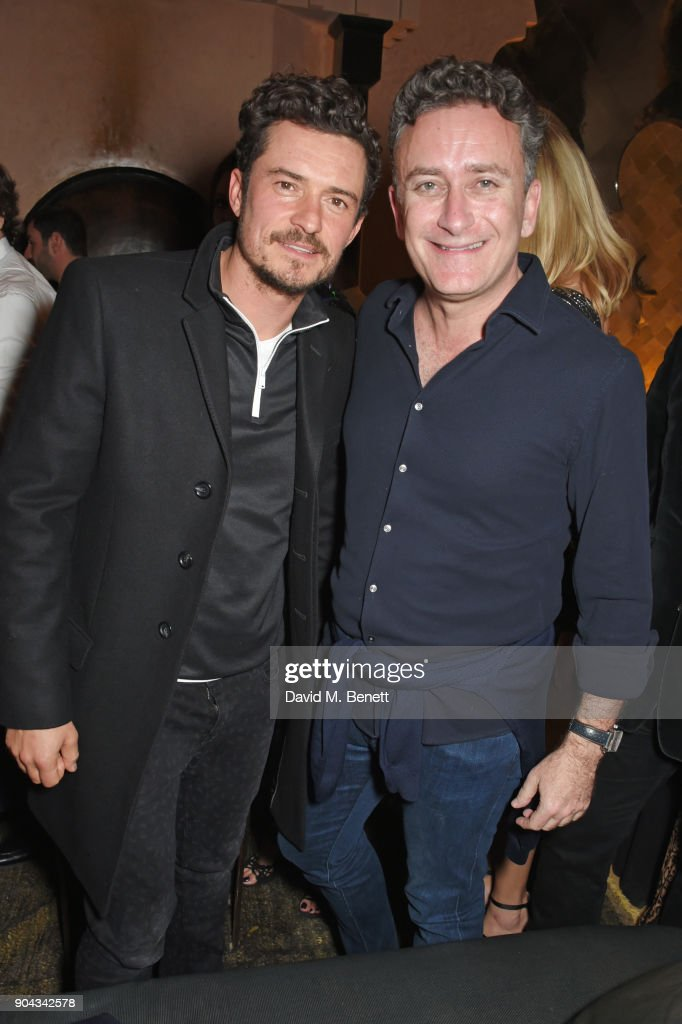 Orlando Bloom (L) and FIA Formula E CEO Alejandro Agag attend Orlando Bloom's birthday party with ABB FIA Formula E Championship at Hotel Amanjena on January 12, 2018 in Marrakech, Morocco.