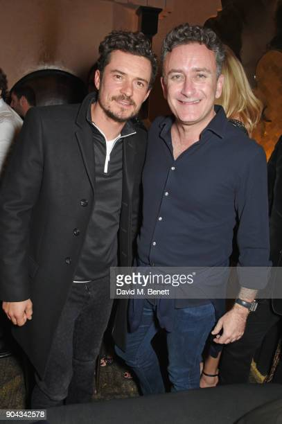 Orlando Bloom and FIA Formula E CEO Alejandro Agag attend Orlando Bloom's birthday party with ABB FIA Formula E Championship at Hotel Amanjena on...