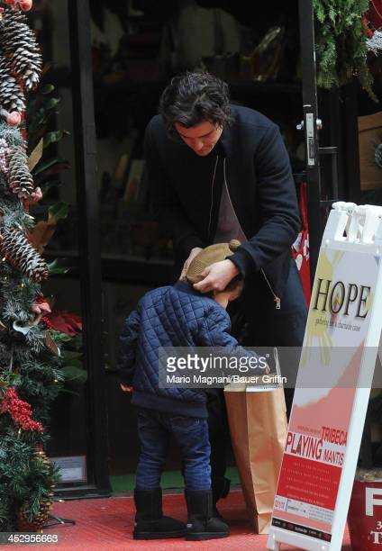 Orlando Bloom and Flynn Bloom are seen on December 01 2013 in New York City
