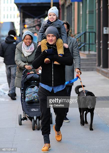 Orlando Bloom and Flynn Christopher Bloom are seen in Tribeca on December 16 2013 in New York City
