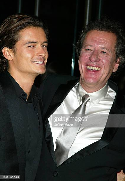 Orlando Bloom and Geoffrey Rush during 2003 Hollywood Awards Gala Ceremony Arrivals at Beverly Hilton Hotel in Beverly Hills California United States