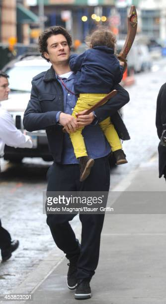 Orlando Bloom and his son Flynn Bloom are seen on December 5 2013 in New York City