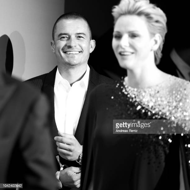 Orlando Bloom and HSH Princess Charlene of Monaco attend Gala for the Global Ocean hosted by HSH Prince Albert II of Monaco at Opera of MonteCarlo on...