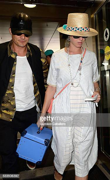 Orlando Bloom and Katy Perry are seen at Miami International Airport on May 22 2016 in Miami Florida