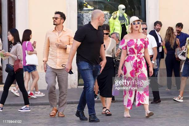 Orlando Bloom and Katy Perry are seen in Rome on September 20, 2019 in Rome, Italy.