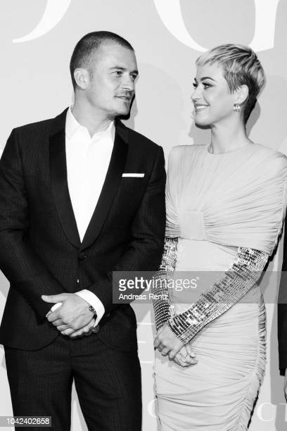 Orlando Bloom and Katy Perry attend Gala for the Global Ocean hosted by HSH Prince Albert II of Monaco at Opera of MonteCarlo on September 26 2018 in...