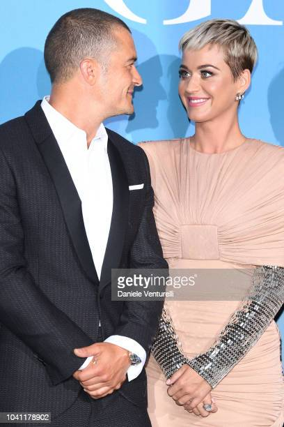 Orlando Bloom and Katy Perry attend the Gala for the Global Ocean hosted by HSH Prince Albert II of Monaco at Opera of MonteCarlo on September 26...
