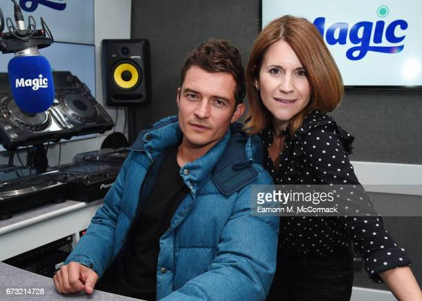 Orlando Bloom and Magic Radio Presenter Harriet Scott at the Magic FM studio on April 26 2017 in London United Kingdom