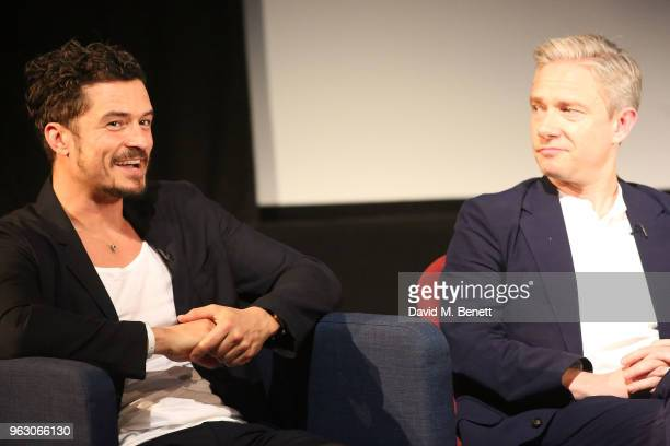 Orlando Bloom and Martin Freeman attend a special screening of McKellen Playing the Part at the BFI Southbank on May 27 2018 in London England
