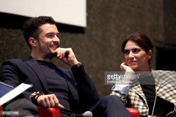 Orlando Bloom and Maya Sansa meet the audience during the 12th Rome Film Fest at Auditorium Parco Della Musica on November 4 2017 in Rome Italy