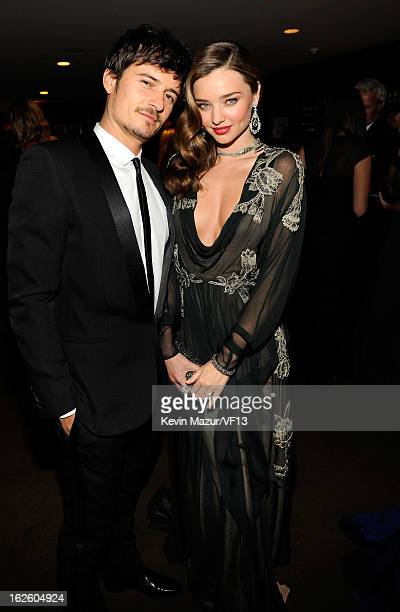 Orlando Bloom and Miranda Kerr attend the 2013 Vanity Fair Oscar Party hosted by Graydon Carter at Sunset Tower on February 24 2013 in West Hollywood...