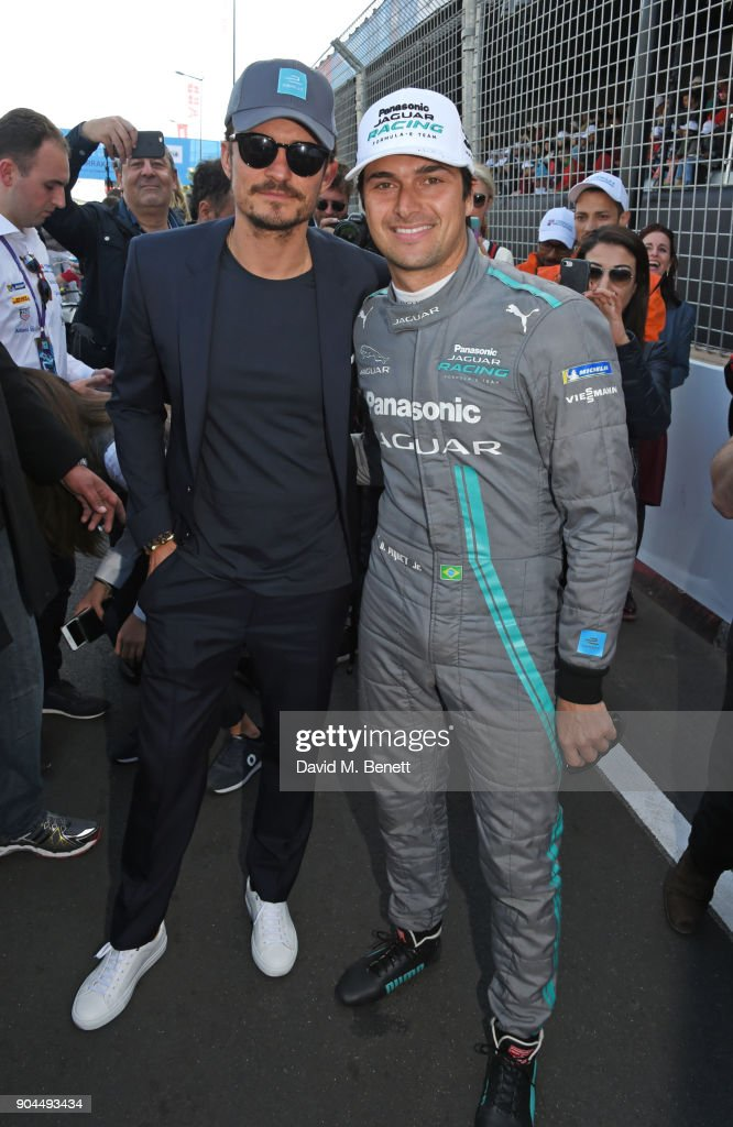 Orlando Bloom (L) and Nelson Piquet Jr attend the ABB FIA Formula E Marrakech E-Prix on January 13, 2018 in Marrakech, Morocco.