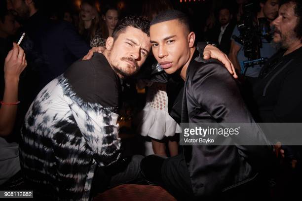 Orlando Bloom and Olivier Rousteing attend the Balmain Homme Menswear Fall/Winter 20182019 aftershow as part of Paris Fashion Week on January 20 2018...
