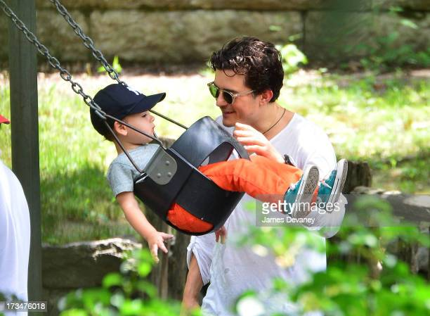 Orlando Bloom and son Flynn Bloom visit Central Park on July 14 2013 in New York City