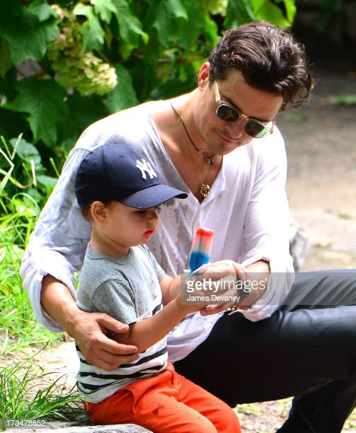 Orlando Bloom and son Flynn Bloom visit Central Park on July 14, 2013 in New York City.