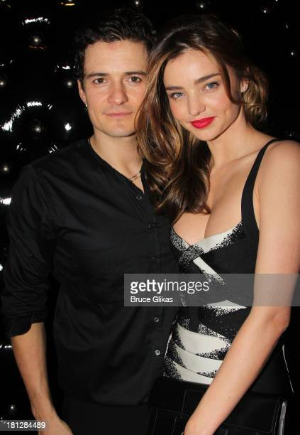 Orlando Bloom and wife Miranda Kerr attend the after party for the Broadway opening night of Shakespeare's Romeo And Juliet at The Edison Ballroom on...