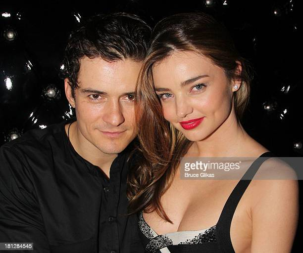 Orlando Bloom and wife Miranda Kerr attend the after party for the Broadway opening night of 'Shakespeare's Romeo And Juliet' at The Edison Ballroom...