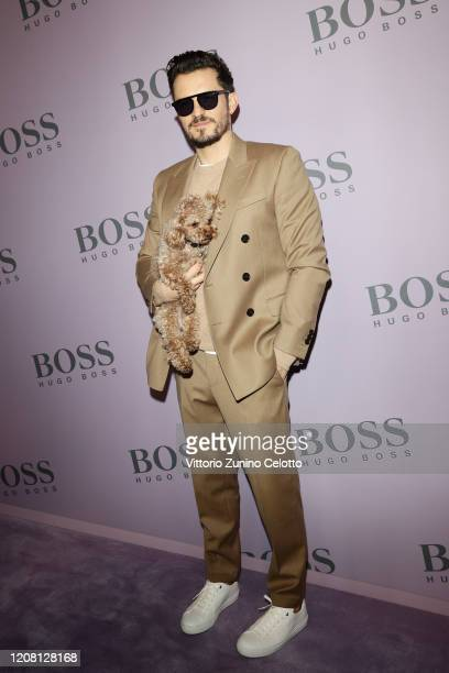 Orlando Bloom attends the BOSS fashion show during the Milan Fashion Week Fall/Winter 2020 - 2021 on February 23, 2020 in Milan, Italy.
