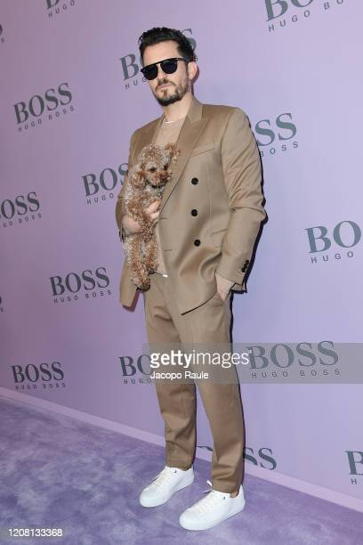 Orlando Bloom attends the Boss fashion show on February 23, 2020 in Milan, Italy.