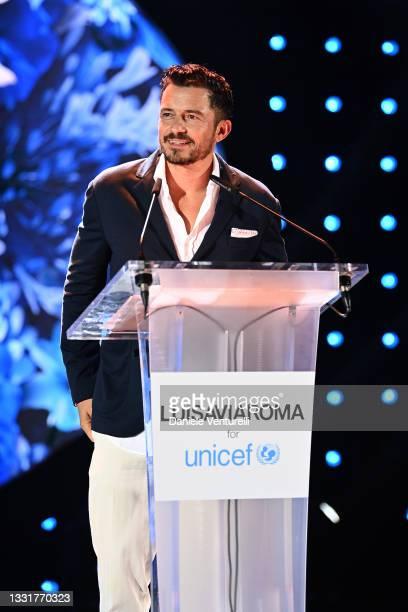 Orlando Bloom attends the LuisaViaRoma for Unicef event at La Certosa di San Giacomo on July 31, 2021 in Capri, Italy.