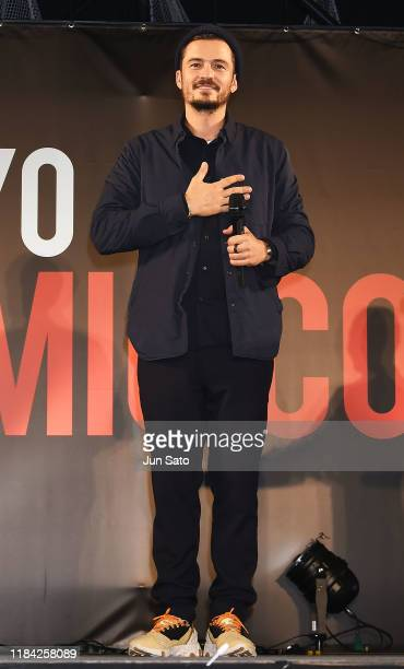 Orlando Bloom attends the talk event during the Tokyo Comic Con 2019 at Makuhari Messe on November 24, 2019 in Chiba, Japan.