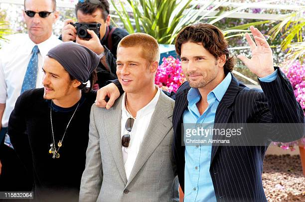 Orlando Bloom Brad Pitt and Eric Bana during 2004 Cannes Film Festival Troy Photocall at Palais du Festival in Cannes France