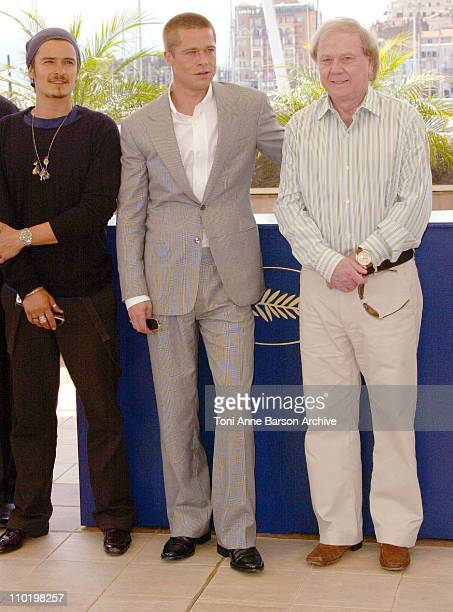 Orlando Bloom Brad Pitt and Wolfgang Petersen during 2004 Cannes Film Festival 'Troy' Photocall at Palais Du Festival in Cannes France