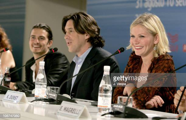Orlando Bloom Cameron Crowe and Kirsten Dunst during 2005 Venice Film Festival Elizabethtown Press Conference at Casino Palace in Venice Lido Italy