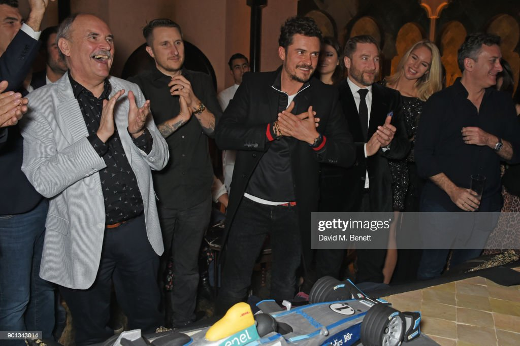 Orlando Bloom (C) celebrates his birthday with father Colin Stone and friends Scott Campbell, Andres Faucher and FIA Formula E CEO Alejandro Agag at Orlando Bloom's birthday party with ABB FIA Formula E Championship at Hotel Amanjena on January 12, 2018 in Marrakech, Morocco.
