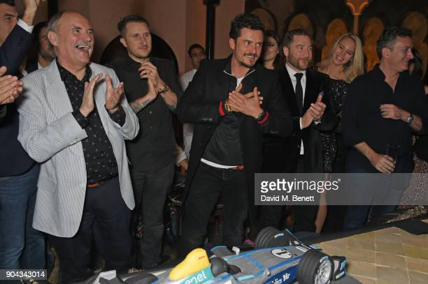 Orlando Bloom celebrates his birthday with father Colin Stone and friends Scott Campbell Andres Faucher and FIA Formula E CEO Alejandro Agag at...