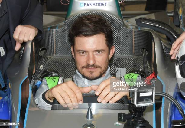 Orlando Bloom drives a Formula E racing car at the ABB FIA Formula E Marrakech EPrix on January 13 2018 in Marrakech Morocco
