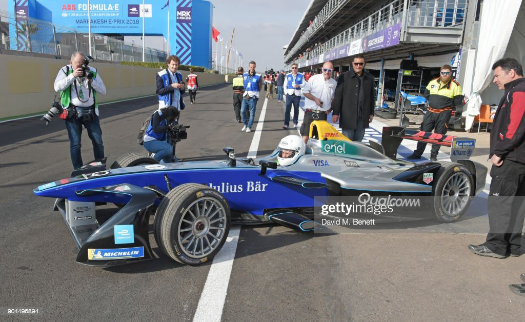 Orlando Bloom drives a Formula E racing car at the ABB FIA Formula E Marrakech E-Prix on January 13, 2018 in Marrakech, Morocco.