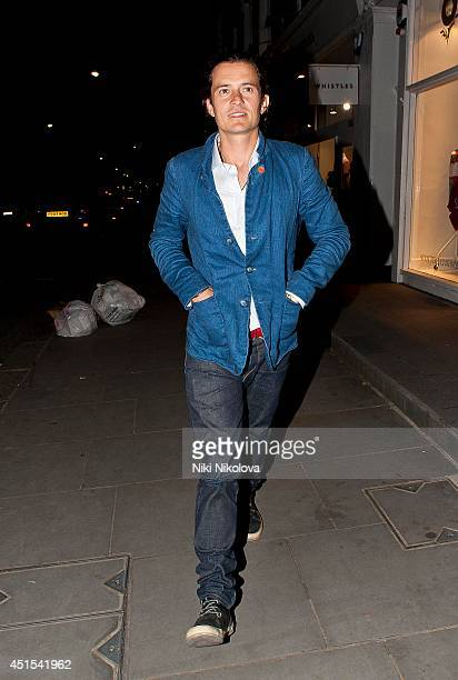 Orlando Bloom is seen leaving the Chiltern Firehouse on June 30 2014 in London England