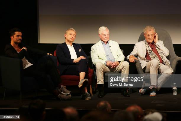 Orlando Bloom Martin Freeman Derek Jacobi and Sir Ian McKellen attend a special screening of 'McKellen Playing the Part' at the BFI Southbank on May...