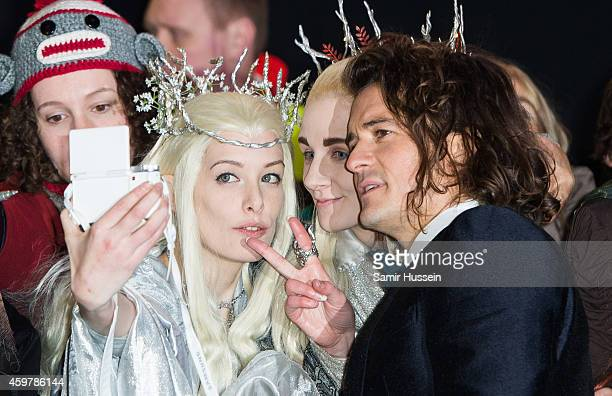 """Orlando Bloom meets fans as he attends the World Premiere of """"The Hobbit: The Battle OF The Five Armies"""" at Odeon Leicester Square on December 1,..."""
