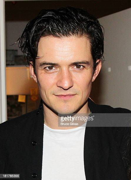 Orlando Bloom poses backstage at 'Romeo and Juliet' on Broadway at The Richard Rogers Theater on September 24 2013 in New York City