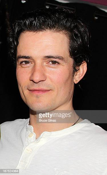 Orlando Bloom poses backstage at 'Romeo and Juliet' on Broadway at The Richard Rogers Theater on November 9 2013 in New York City