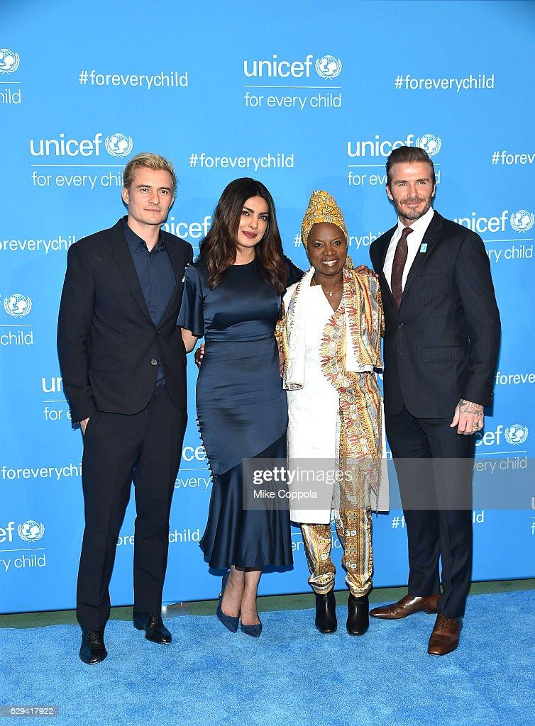 Orlando Bloom, Priyanka Chopra, Angelique Kidjo and David Beckham attend UNICEF's 70th Anniversary Event at United Nations Headquarters on December 12, 2016 in New York City.